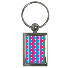 Pink And Bluedots Pattern Key Chains (Rectangle)