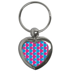 Pink And Bluedots Pattern Key Chains (Heart)