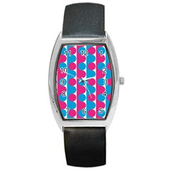 Pink And Bluedots Pattern Barrel Style Metal Watch