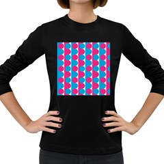 Pink And Bluedots Pattern Women s Long Sleeve Dark T-Shirts