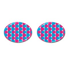 Pink And Bluedots Pattern Cufflinks (Oval)