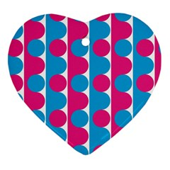 Pink And Bluedots Pattern Heart Ornament (Two Sides)
