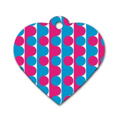 Pink And Bluedots Pattern Dog Tag Heart (Two Sides)
