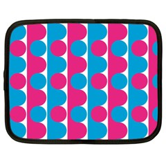 Pink And Bluedots Pattern Netbook Case (XL)