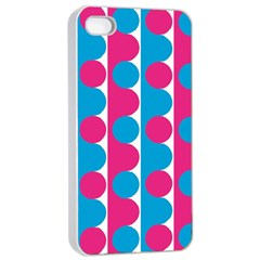 Pink And Bluedots Pattern Apple iPhone 4/4s Seamless Case (White)