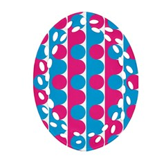 Pink And Bluedots Pattern Ornament (Oval Filigree)