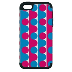 Pink And Bluedots Pattern Apple iPhone 5 Hardshell Case (PC+Silicone)