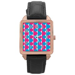 Pink And Bluedots Pattern Rose Gold Leather Watch