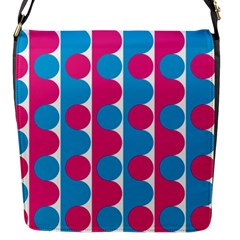 Pink And Bluedots Pattern Flap Messenger Bag (S)