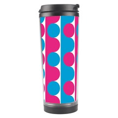 Pink And Bluedots Pattern Travel Tumbler