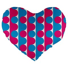 Pink And Bluedots Pattern Large 19  Premium Flano Heart Shape Cushions