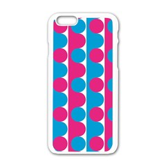 Pink And Bluedots Pattern Apple iPhone 6/6S White Enamel Case