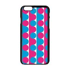 Pink And Bluedots Pattern Apple iPhone 6/6S Black Enamel Case