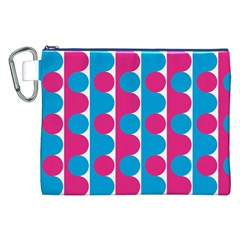 Pink And Bluedots Pattern Canvas Cosmetic Bag (XXL)