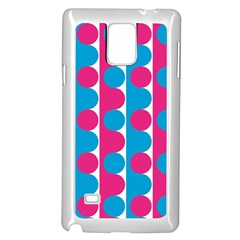 Pink And Bluedots Pattern Samsung Galaxy Note 4 Case (White)