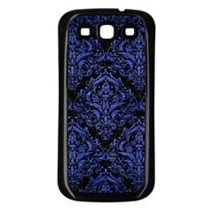Damask1 Black Marble & Blue Brushed Metal Samsung Galaxy S3 Back Case (black)