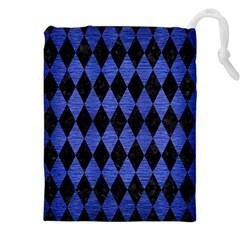 Diamond1 Black Marble & Blue Brushed Metal Drawstring Pouch (xxl)
