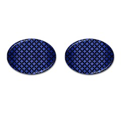 Circles3 Black Marble & Blue Brushed Metal (r) Cufflinks (oval)
