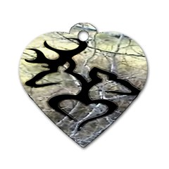 Black Love Browning Deer Camo Dog Tag Heart (Two Sides)