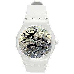 Black Love Browning Deer Camo Round Plastic Sport Watch (M)