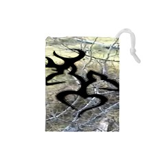 Black Love Browning Deer Camo Drawstring Pouches (Small)