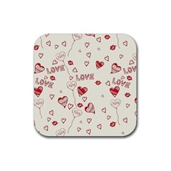 Pattern Hearts Kiss Love Lips Art Vector Rubber Square Coaster (4 pack)