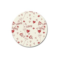 Pattern Hearts Kiss Love Lips Art Vector Magnet 3  (Round)