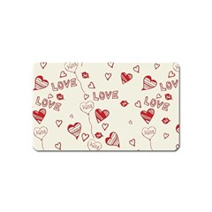 Pattern Hearts Kiss Love Lips Art Vector Magnet (Name Card)