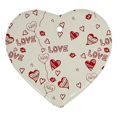 Pattern Hearts Kiss Love Lips Art Vector Heart Ornament (Two Sides)