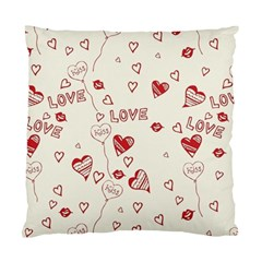 Pattern Hearts Kiss Love Lips Art Vector Standard Cushion Case (Two Sides)