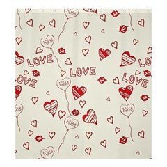 Pattern Hearts Kiss Love Lips Art Vector Shower Curtain 66  x 72  (Large)