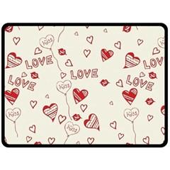 Pattern Hearts Kiss Love Lips Art Vector Fleece Blanket (Large)