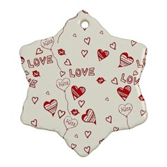 Pattern Hearts Kiss Love Lips Art Vector Snowflake Ornament (Two Sides)