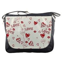 Pattern Hearts Kiss Love Lips Art Vector Messenger Bags