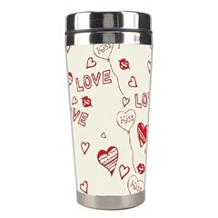 Pattern Hearts Kiss Love Lips Art Vector Stainless Steel Travel Tumblers