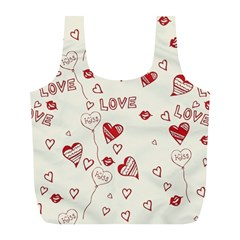 Pattern Hearts Kiss Love Lips Art Vector Full Print Recycle Bags (L)