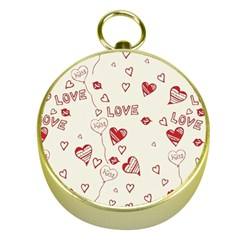 Pattern Hearts Kiss Love Lips Art Vector Gold Compasses