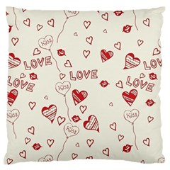 Pattern Hearts Kiss Love Lips Art Vector Standard Flano Cushion Case (Two Sides)