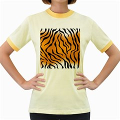 Tiger Skin Pattern Women s Fitted Ringer T-Shirts