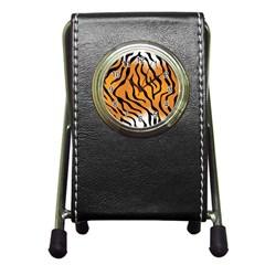 Tiger Skin Pattern Pen Holder Desk Clocks