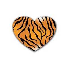 Tiger Skin Pattern Heart Coaster (4 pack)