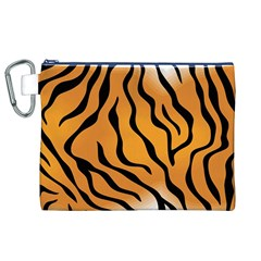 Tiger Skin Pattern Canvas Cosmetic Bag (XL)