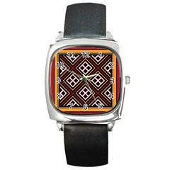 Toraja Pattern Pa re po  Sanguba ( Dancing Alone ) Square Metal Watch
