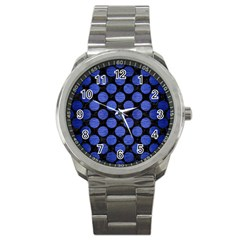 Circles2 Black Marble & Blue Brushed Metal Sport Metal Watch