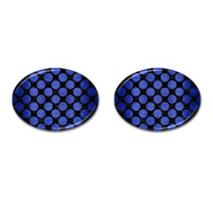 Circles2 Black Marble & Blue Brushed Metal Cufflinks (oval)