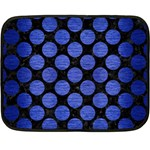 CIRCLES2 BLACK MARBLE & BLUE BRUSHED METAL Double Sided Fleece Blanket (Mini) 35 x27 Blanket Front