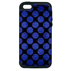 Circles2 Black Marble & Blue Brushed Metal Apple Iphone 5 Hardshell Case (pc+silicone)