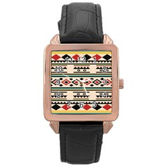 Tribal Pattern Rose Gold Leather Watch