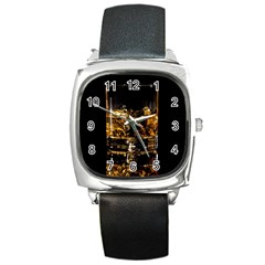 Drink Good Whiskey Square Metal Watch