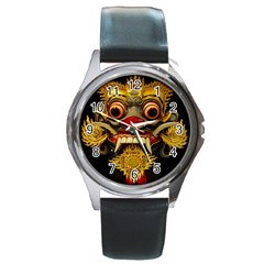 Bali Mask Round Metal Watch